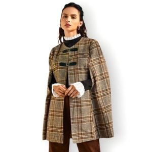 💋Elegant Tartan Cape Buckle Strap Coat